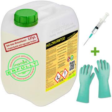 mamba Holzwurmtod HWT - 5 Liter + Spritze + Handschuhe