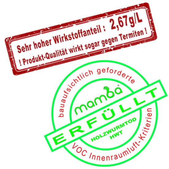 mamba Holzwurmtod HWT Qualitätssiegel Stempel
